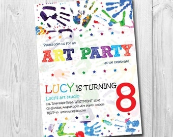 Kids Art party Invitation, Kids art Birthday invitation, Party Invitation, Drawing invitation,