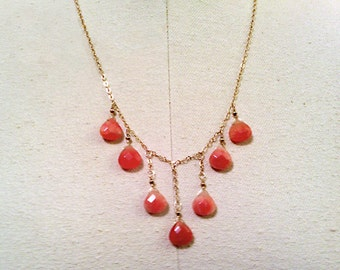 necklace with strawberry jade briolettes