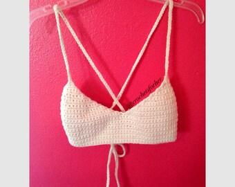Rich Bralette - Crochet Halter Top Bralette with Cross Back - completely handmade From 100% USA grown cotton