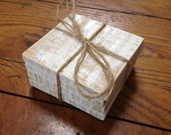Set of 4 Pallet Wood Drink Coasters- Shabby Chic