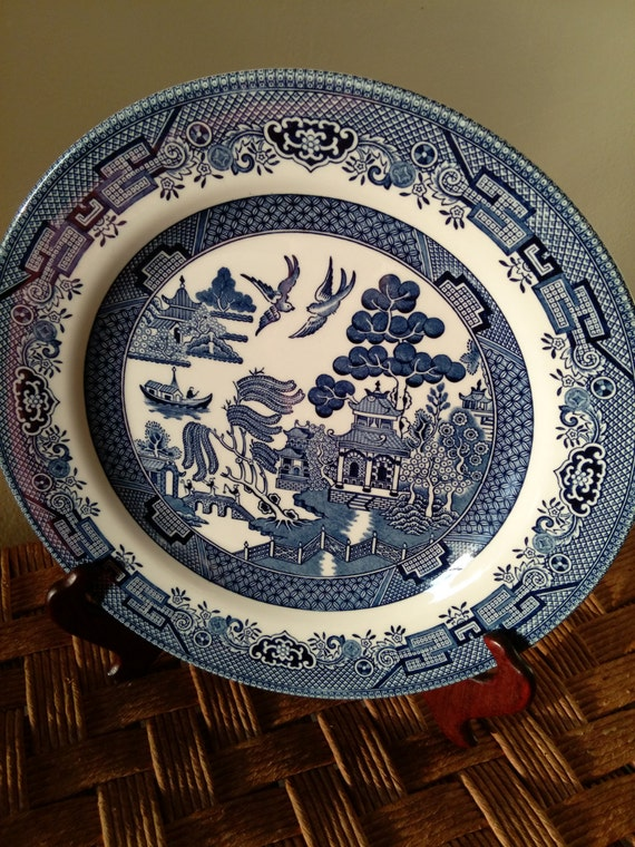 "SAVE 25% WITH CODE: SAVE25 Vintage 12"" Chop Plate/Round Platter in Willow-Blue (Georgian Shape) by Churchill China"