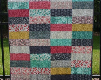 Modern Aqua & Coral Baby Quilt, Toddler Quilt, Child Quilt