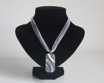 Grey, White, Purple Swirl Glass Tile Pendant Necklace