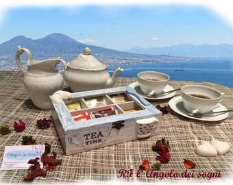 Box Tea / Shabby Tea Box / Tea and infusions / personalized box with compartments / kitchen decor / home decor / Italian Style / Naples
