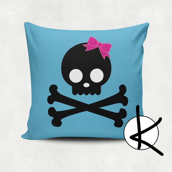 Skull and Crossbones - Cushion Cover Set - Hot Pink, Lime Green, Blue, Yellow, Pink