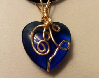 Wire wrapped heart glass blue gold plated Copper one of a kind