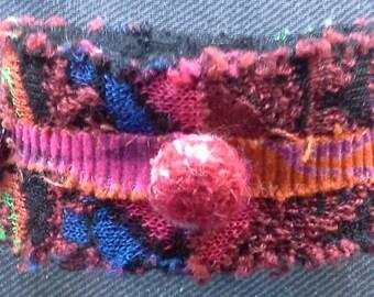 Textile bracelet/cuff. Multicolor