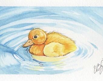 Lonely Duckling   4x6 Original Watercolor