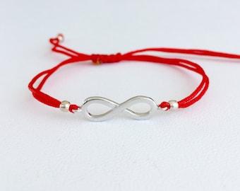 Infinity bracelet. Infinity silver bracelet. Red string bracelet. Adjustable red string infinity silver bracelet. Trendy bracelet.