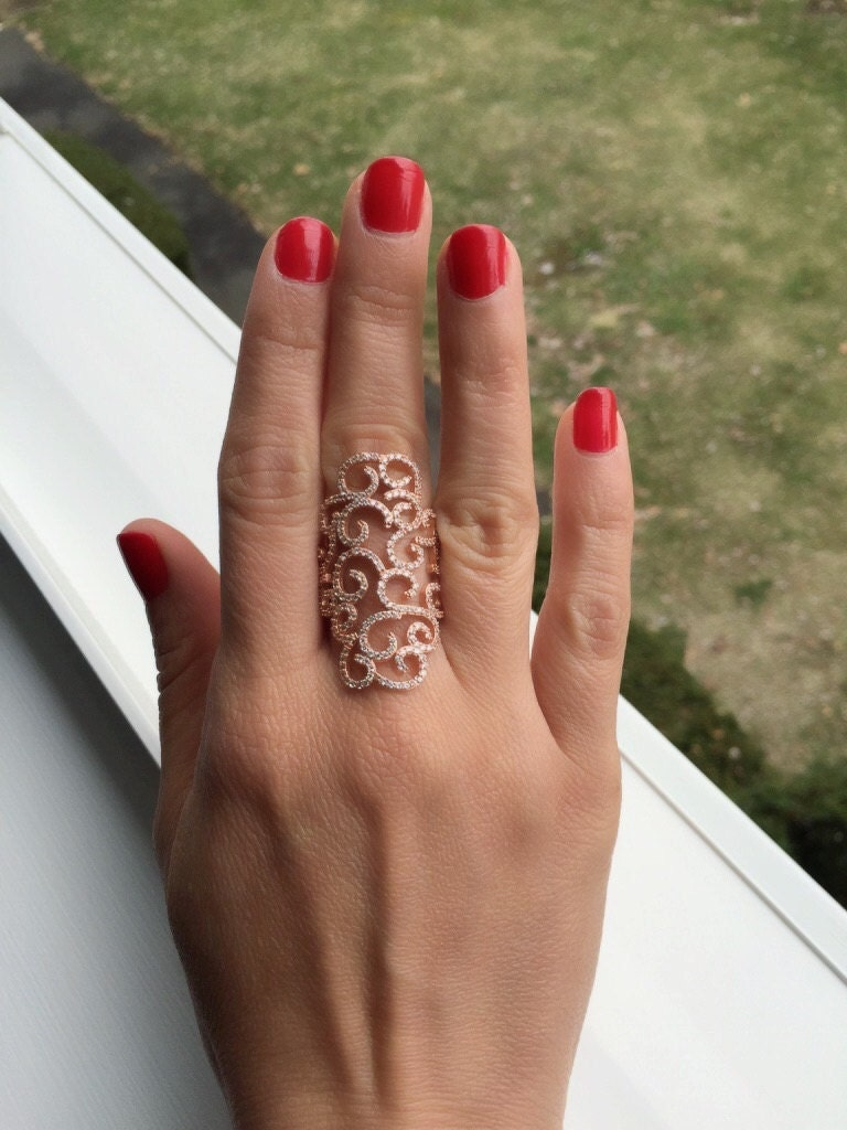 Female Wedding Ring Tattoos: Intricate Curl Design Cz Ring Tattoo Ring Blosom Ring
