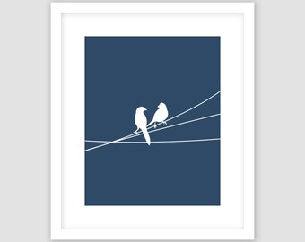 Birds on a Wire Print, Navy Blue and White, Animal Wall Art, Modern Art, Instant Download, DIY, Printable