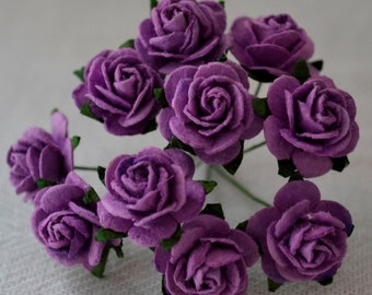 1.5 cm (5/8 in) Dark Lilac Violet ROSES Mulberry Paper Flowers wedding crafts cards