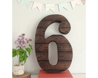 """18"""" Handcrafted Large Wood Wall Number 6 - Wedding Gift Rustic Nursery Decor Shabby Chic Gallery Wall Anniversary Gift Engagement Gift"""