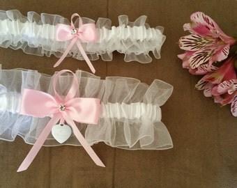 White sheer organza garter set, pink satin, Rhinestone, Laser engraved tag, Wedding garter, Bridal garter, Prom garter, Custom garter set