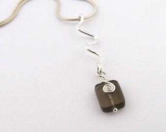 Sterling Silver Zig Zag Necklace Smokey Quartz Necklace Chakra Necklace Chakra Jewelry Snake Chain