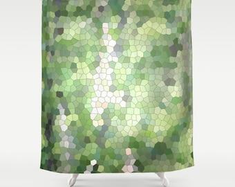 Green Mosaic,Shower Curtain,Grey, White,BathCurtain,Bathroom Decor,Accessories,Bathroom Art,Designer Curtain,Interior Design,Summer Decor