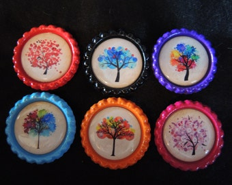 Rainbow tree magnets - set of 5