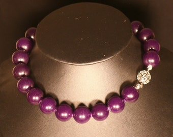 Jade purple and silver necklace solid 925