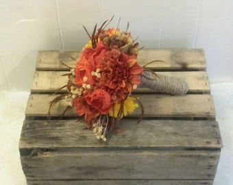 Fall made to order bouquet. Silk flowers and burlap twine. Pick your colors