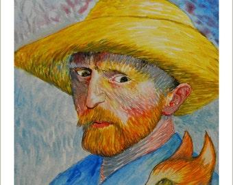 Vincent Van Gogh and cat