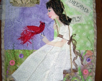 OOAK hand applique wall hanging art quilt girl on swing