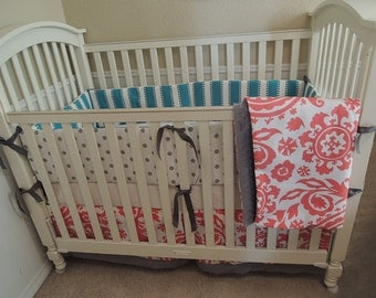Coral and Turquoise Baby Bedding Set