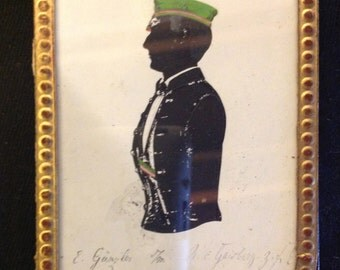 Germany 1852: Coloured and leatherbound Silhouette of a Corps Student  - rare, stunning, and exquisite!