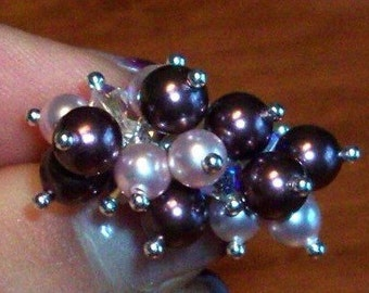 Ring silver-purple pearls