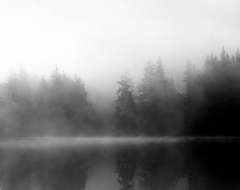 "Black and White Photography Print - Fine Art Landscape Fog Mist Minimalist Trees Living Room Art Fog on Water    ""Quiet Fog"""