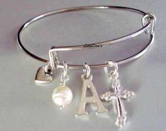 GIRLS First Communion CROSS Charm Adjustable Bangle Initial  Charm / Small Heart- Pearl Religion FC1
