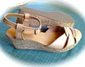 SOLD Lovely Hasbeens Kassi Cork Wedge Sandals Nature Leather Sz 40 EURO MINT