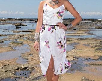 Birds of Pardise Dress-White print