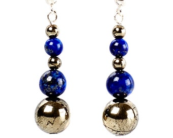 Cleopatra - earrings of lapis lazuli, pyrite and sterling silver