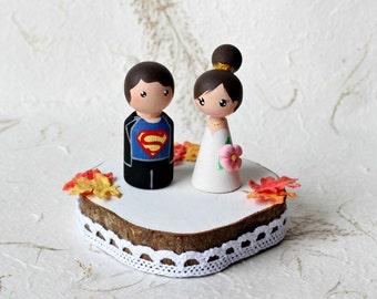 Personalized Wedding Cake Topper, Painted Wedding Cake Wood Peg Dolls, Custom Wedding Bride and Groom, Custom Cake Top, Wedding Cake Top