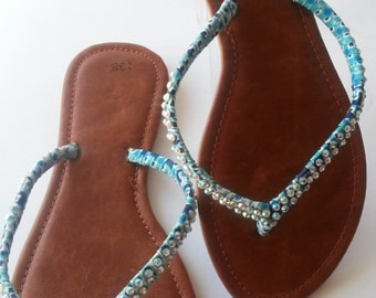 Blue leather shoe Women Slip on Girls Shoes Accessories Leather Sandals  Handmade Slippers shoes Crystal shoes Blue Slippers