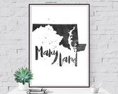 Maryland Printable, State Wall Art, MD Print, Typographic Art, Map Art, Printable Travel Poster, Wanderlust Typography, State Print