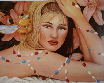 "Signed Art Print Blonde Girl from the Original Oil Painting ""Lily"" by Daniela Mar"