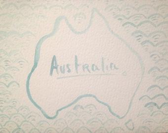 Watercolor Map of Australia