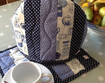 Blue patchwork tea cosy and mat set