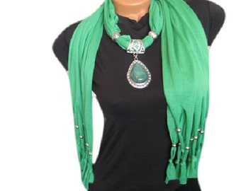 Green pendant scarf, Scarf necklace, Scarf jewelry, Pendant scarf, Fabric scarf jewelry, Fashion jewelry, Fashion scarf, Women accessories