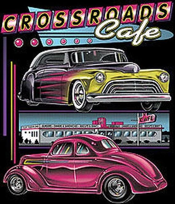 Two custom vintage cars on black t shirt graphic on back of for Shirts with graphics on the back
