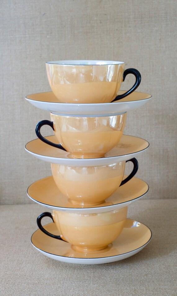 Vintage Czech Slovakia Lusterware Tea Cups Amp Saucers Set Of