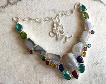 Multi Color Glass Necklace/Moss Agate Necklace/Silver Necklace/Statement Necklace/Natural Gemstone Necklace/Bib Necklace