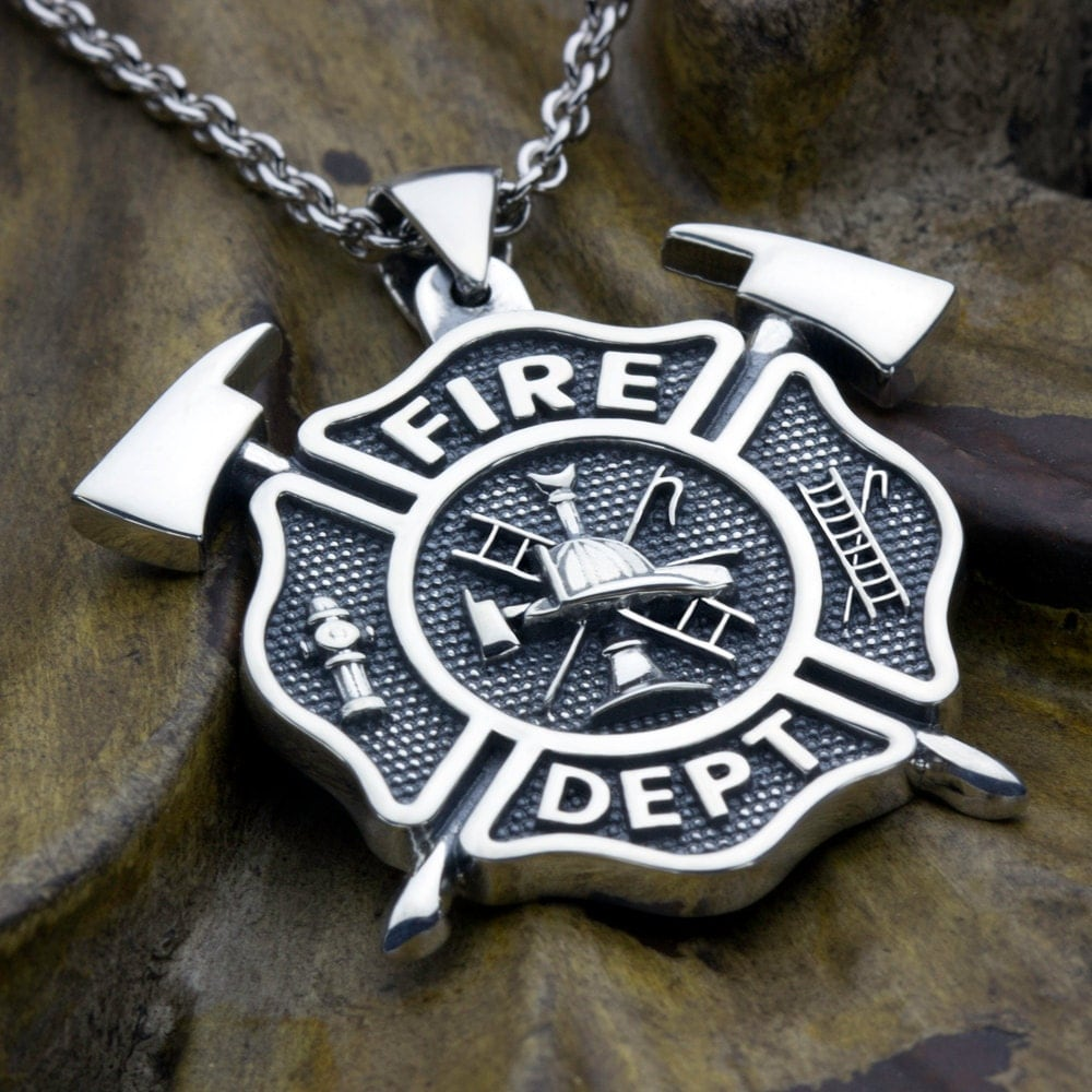 Fire Department Maltese Cross Necklace: Large Firefighter Maltese Cross Fire Department With Crossed