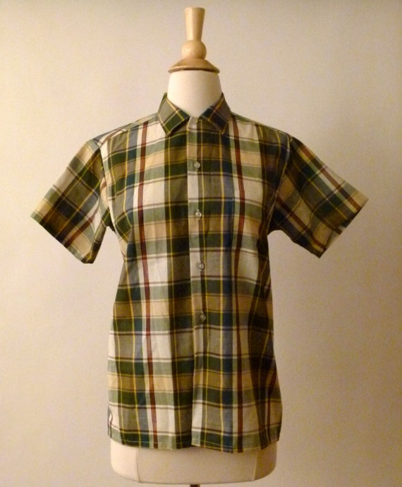 Vintage Happy Camper Plaid Sears Button Up - Unisex