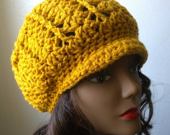 Crochet Mustard Yellow Slouchy Brim Cap