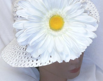 Girls White Spring Hat Easter Bonnet Teaparty Hat with Oversized White Gerber Daisy
