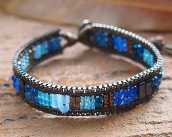 Lapis Jade mix Single bracelet with Chain, Beadwork bracelet