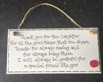 Special friend plaque