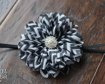 Black and White Chevron Sparkly Headband- Photography Prop, Baby-Toddler-Teen Skinny Headband